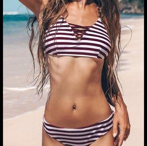 BNWOT Cupshe striped bikini